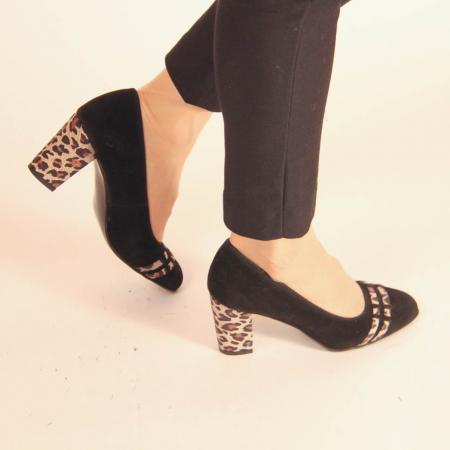 Pantofi dama din piele naturala intoarsa neagra MSPD57119-20 [0]