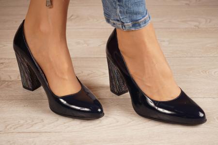 Pantofi dama din piele naturala lacuita bleumaren MSPD799-6-20 [0]