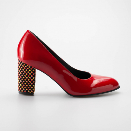 Pantofi dama din piele naturala lacuita rosie MSPD52017-1-19 [0]
