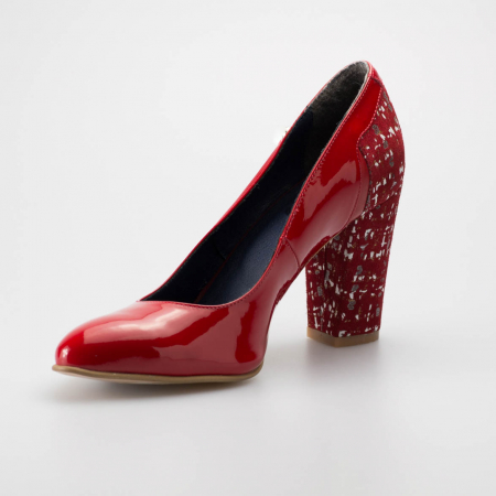 Pantofi dama din piele naturala lacuita rosie MSPD52218-19 [2]
