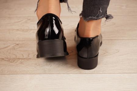 Pantofi dama din piele naturala lacuita neagra MSPD55319-1-20 [4]