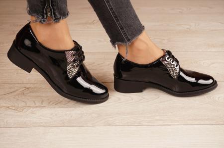 Pantofi dama din piele naturala lacuita neagra MSPD55319-1-20 [2]
