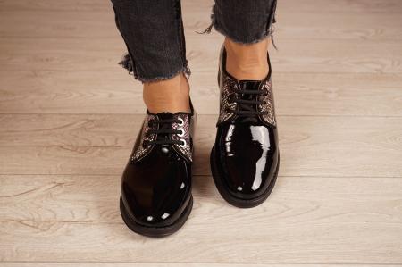 Pantofi dama din piele naturala lacuita neagra MSPD55319-1-20 [3]