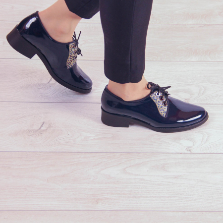 Pantofi dama din piele naturala lacuita MSPD55319-200