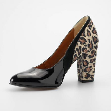 Pantofi dama din piele naturala lacuita neagra MSPD56119-19 [2]
