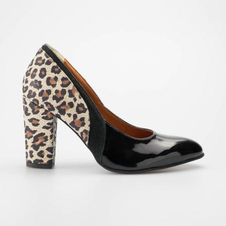 Pantofi dama din piele naturala lacuita neagra MSPD56119-19 [0]
