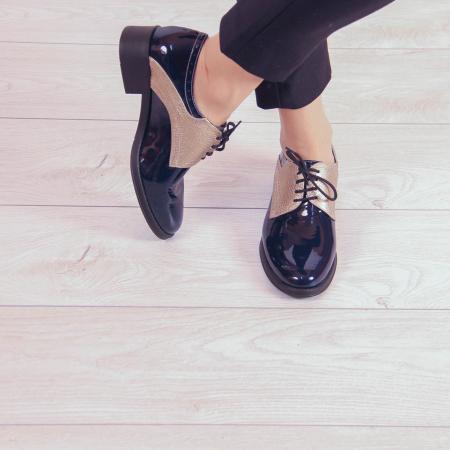 Pantofi dama din piele naturala lacuita MSPD59419-200