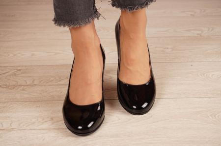 Pantofi dama din piele naturala lacuita neagra MSPD190-21 [3]