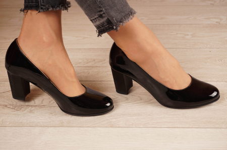 Pantofi dama din piele naturala lacuita neagra MSPD190-21 [0]