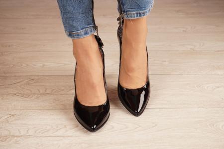 Pantofi dama din piele naturala lacuita neagra MSPD51017-1-20 [2]