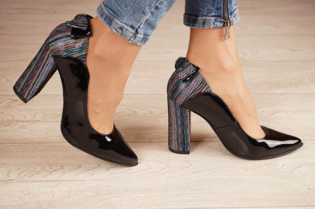 Pantofi dama din piele naturala lacuita neagra MSPD51017-1-20 [1]
