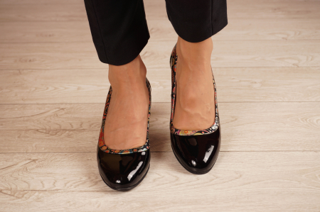 Pantofi dama din piele naturala lacuita neagra MSPD52318-1-20 [2]