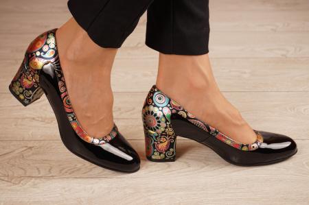 Pantofi dama din piele naturala lacuita neagra MSPD52318-1-20 [1]