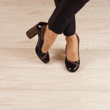 Pantofi dama din piele naturala lacuita neagra MSPD53520-20 [1]