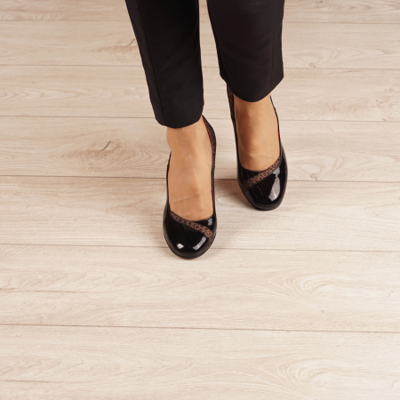 Pantofi dama din piele naturala lacuita neagra MSPD53520-20 [2]