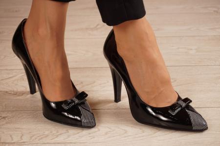 Pantofi dama din piele naturala lacuita neagra MSPD58820-20 [0]