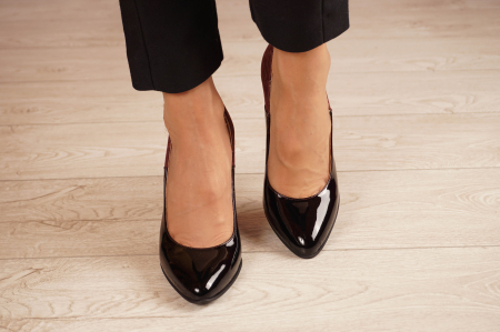 Pantofi dama din piele naturala lacuita neagra MSPD59619-20 [2]