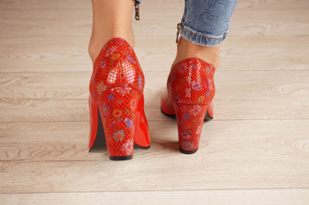 Pantofi dama din piele naturala lacuita rosie MSPD60620-20 [3]