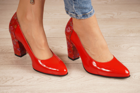 Pantofi dama din piele naturala lacuita rosie MSPD60620-20 [0]