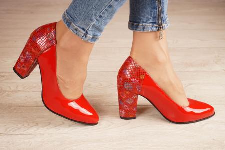 Pantofi dama din piele naturala lacuita rosie MSPD60620-20 [1]