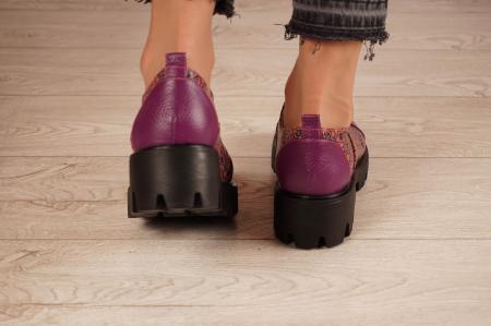 Pantofi dama din piele naturala mov MSPD58618-21 [4]