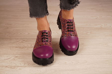 Pantofi dama din piele naturala mov MSPD58618-21 [3]
