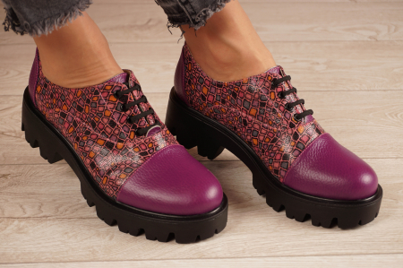 Pantofi dama din piele naturala mov MSPD58618-21 [0]