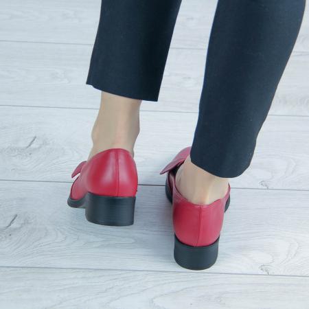 Pantofi dama din piele naturala bizonata rosie MSPD57319-2-202