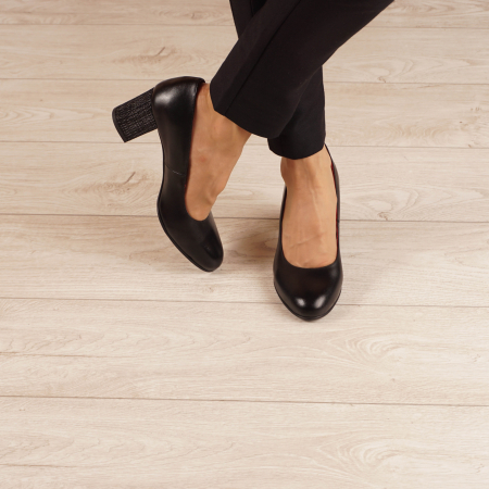 Pantofi dama din piele naturala neagra MSPD190-33-20 [1]