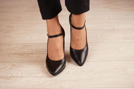 Pantofi dama din piele naturala neagra MSPD50820-3-20 [2]