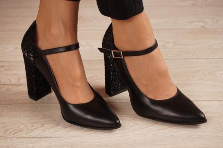 Pantofi dama din piele naturala neagra MSPD50820-3-20 [0]