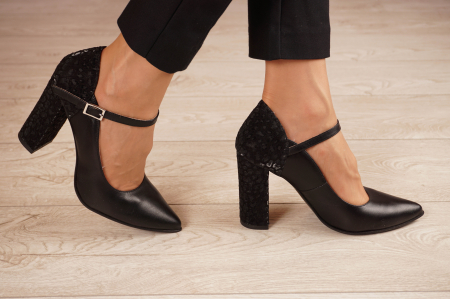Pantofi dama din piele naturala neagra MSPD50820-3-20 [1]