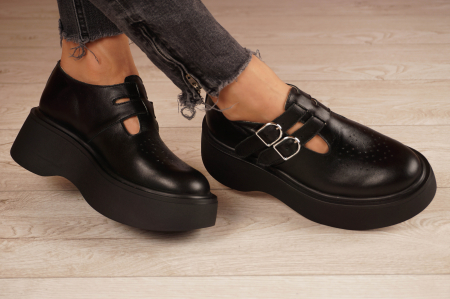 Pantofi dama din piele naturala neagra MSPD51021-21 [1]