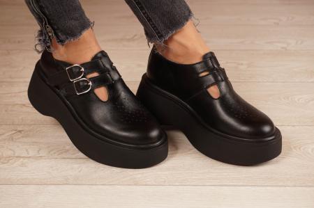 Pantofi dama din piele naturala neagra MSPD51021-21 [0]