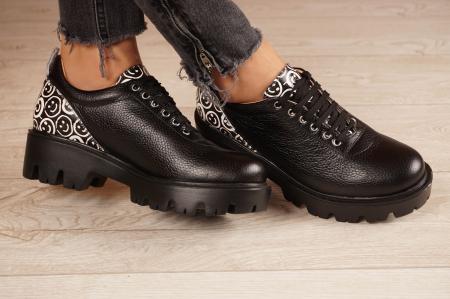 Pantofi dama din piele naturala neagra MSPD56620-2-201