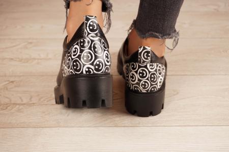 Pantofi dama din piele naturala neagra MSPD56620-2-204