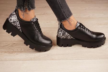 Pantofi dama din piele naturala neagra MSPD56620-2-202