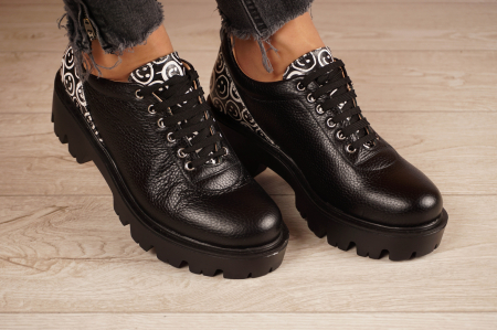 Pantofi dama din piele naturala neagra MSPD56620-2-200