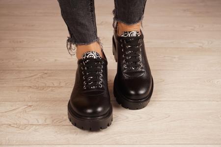 Pantofi dama din piele naturala neagra MSPD56620-2-203