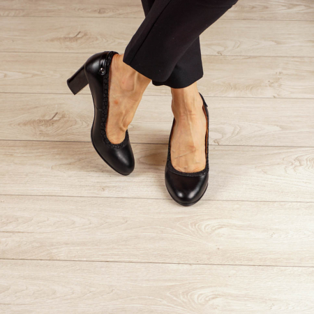 Pantofi dama din piele naturala neagra MSPD56719-1-20 [1]