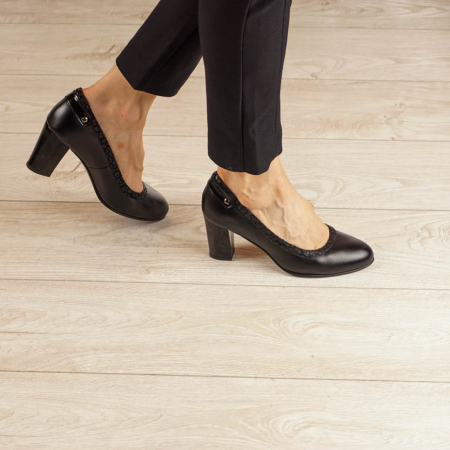 Pantofi dama din piele naturala neagra MSPD56719-1-20 [0]