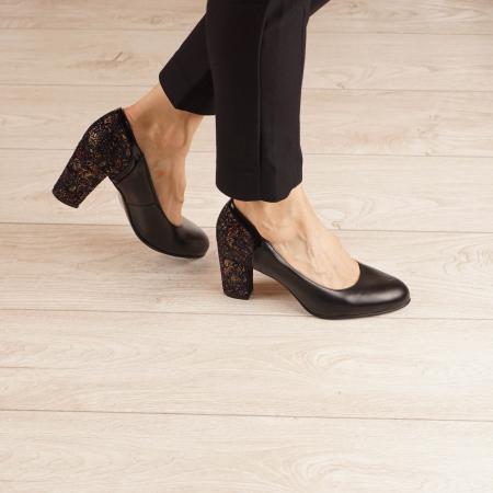 Pantofi dama din piele naturala neagra MSPD57019-1-20 [0]