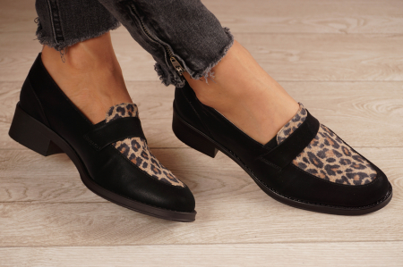 Pantofi dama din piele naturala neagra MSPD58120-21 [0]