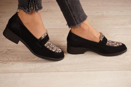 Pantofi dama din piele naturala neagra MSPD58120-21 [2]