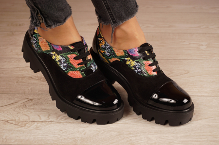 Pantofi dama din piele naturala neagra MSPD59820-20 [0]