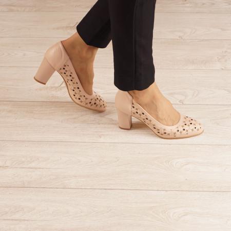 Pantofi dama din piele naturala nude laserata MSPD51820L46-20 [0]
