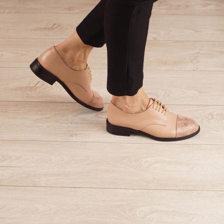 Pantofi dama din piele naturala nude MSPD59016-3-200