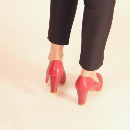 Pantofi dama din piele naturala rosie laserata MSPD51820L38-20 [3]
