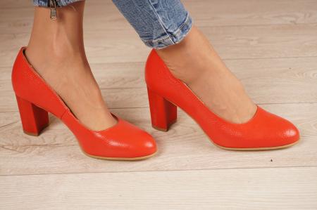 Pantofi dama din piele naturala rosie MSPD52017-1-21 [0]