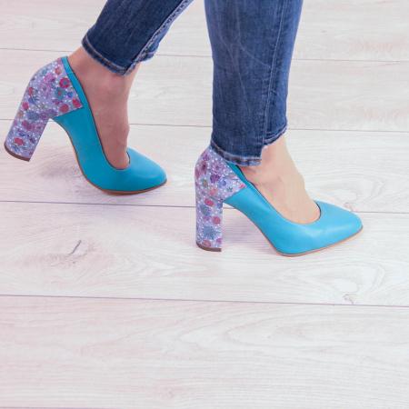 Pantofi dama din piele naturala turcoaz MSPD53018-20 [0]